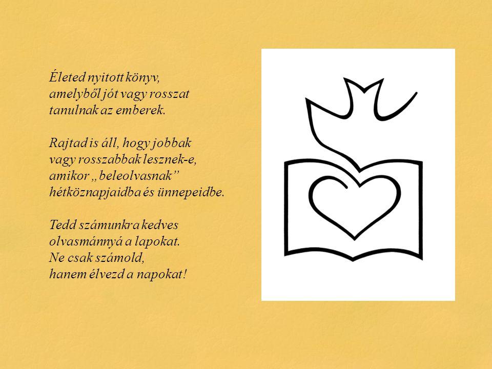 Életed nyitott könyv, amelyből jót vagy rosszat tanulnak az emberek
