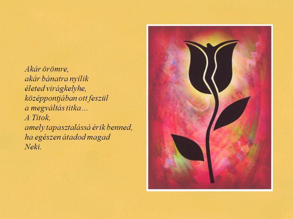 Akár örömre, akár bánatra nyílik életed virágkelyhe, középpontjában ott feszül a megváltás titka… A Titok, amely tapasztalássá érik benned, ha egészen átadod magad Neki.