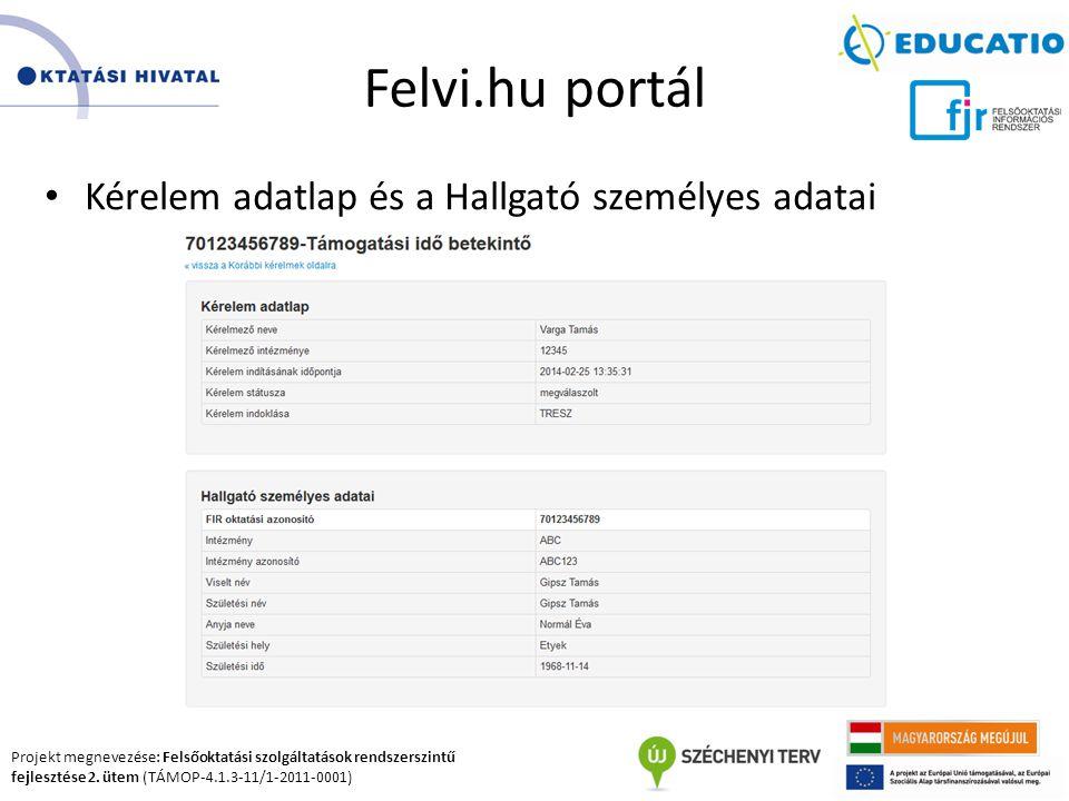 Felvi.hu portál Kérelem adatlap és a Hallgató személyes adatai