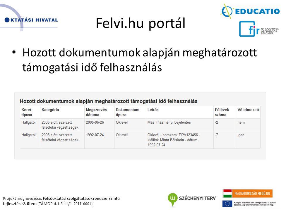 Felvi.hu portál Hozott dokumentumok alapján meghatározott támogatási idő felhasználás