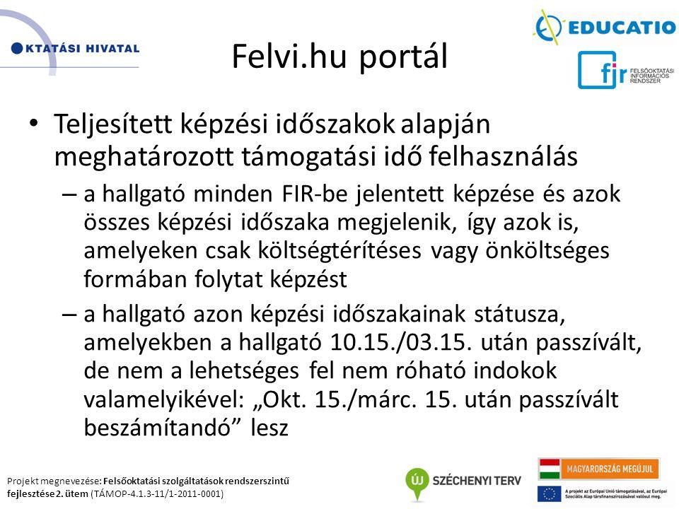 Felvi.hu portál Teljesített képzési időszakok alapján meghatározott támogatási idő felhasználás.