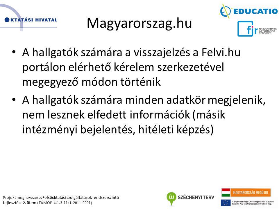 Magyarorszag.hu A hallgatók számára a visszajelzés a Felvi.hu portálon elérhető kérelem szerkezetével megegyező módon történik.