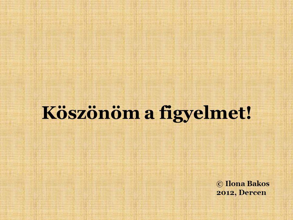 Köszönöm a figyelmet! © Ilona Bakos 2012, Dercen