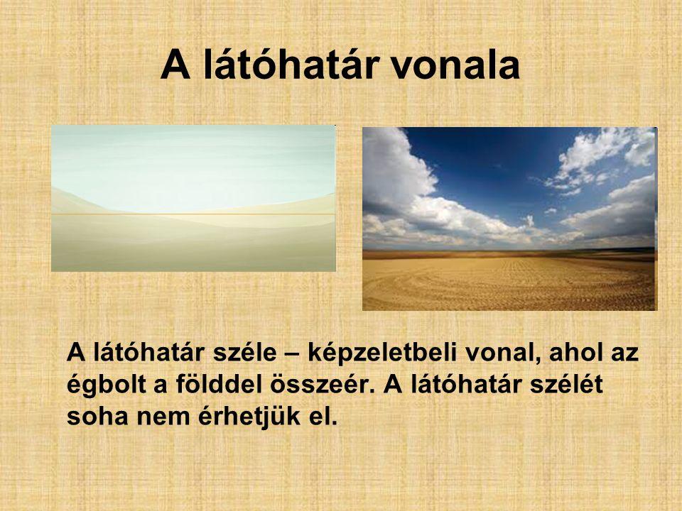 A látóhatár vonala A látóhatár széle – képzeletbeli vonal, ahol az égbolt a földdel összeér.