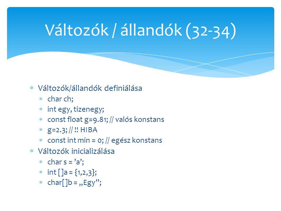 Változók / állandók (32-34)