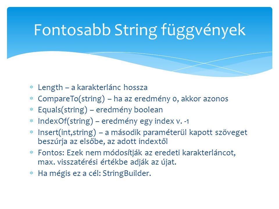 Fontosabb String függvények