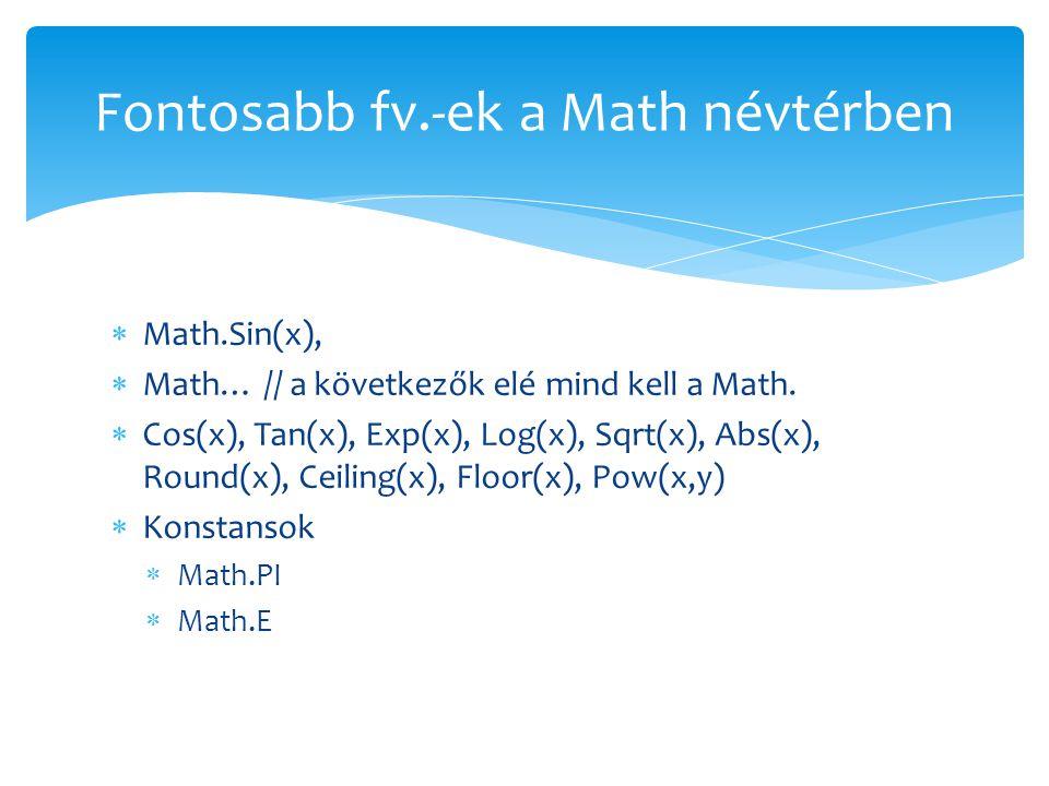 Fontosabb fv.-ek a Math névtérben