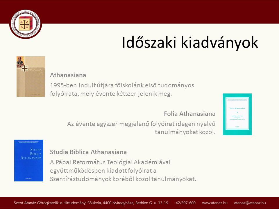 Időszaki kiadványok Athanasiana