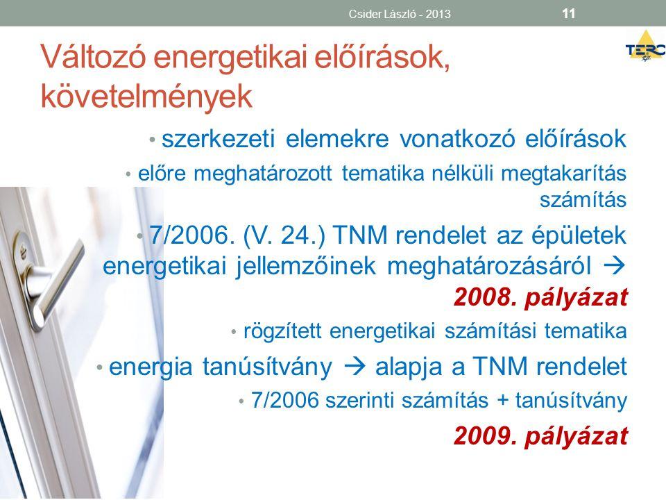 Változó energetikai előírások, követelmények