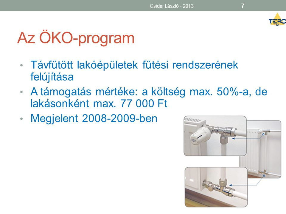 Az ÖKO-program Távfűtött lakóépületek fűtési rendszerének felújítása