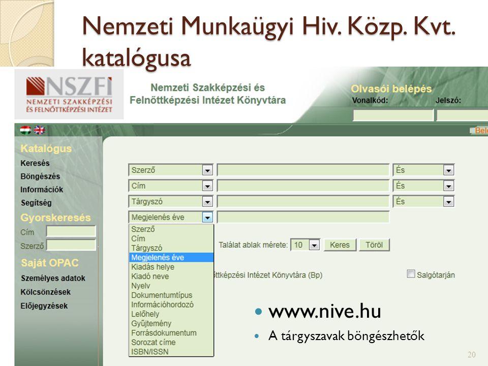 Nemzeti Munkaügyi Hiv. Közp. Kvt. katalógusa
