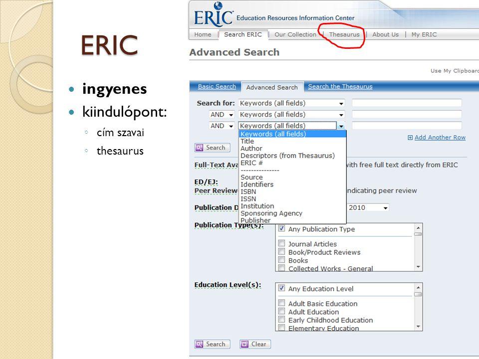ERIC ingyenes kiindulópont: cím szavai thesaurus