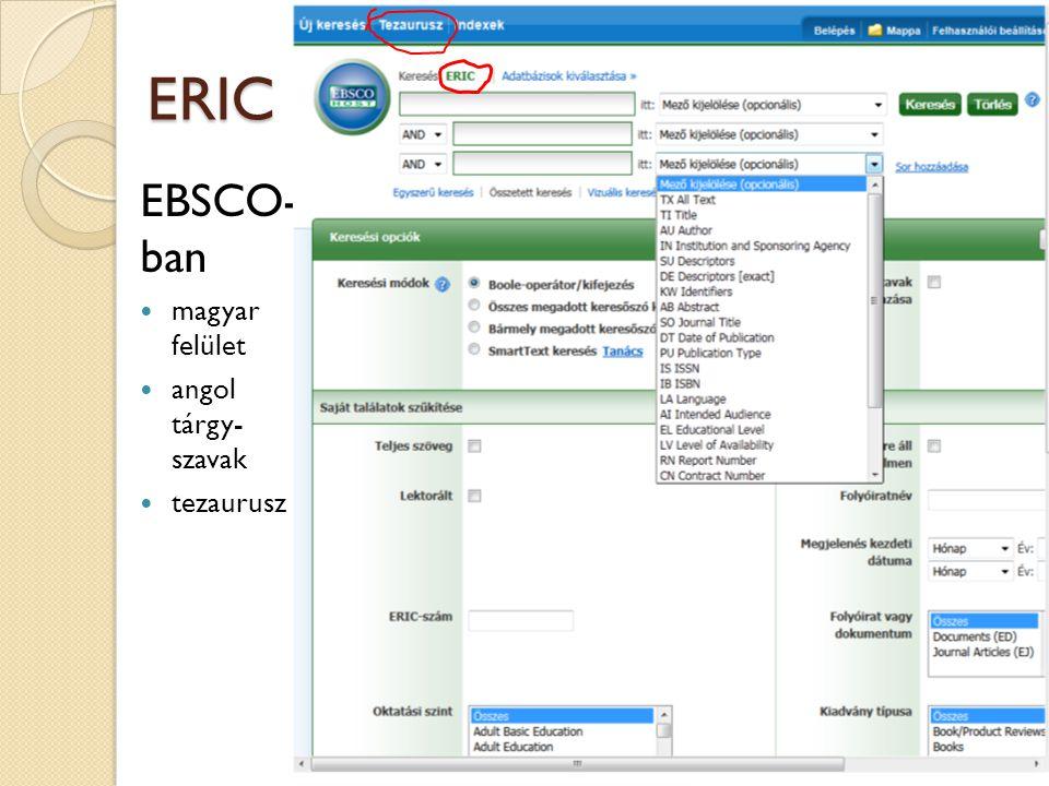 ERIC EBSCO- ban magyar felület angol tárgy- szavak tezaurusz