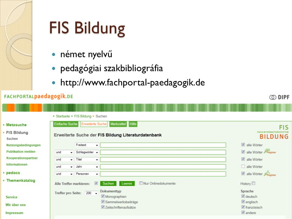 FIS Bildung német nyelvű pedagógiai szakbibliográfia