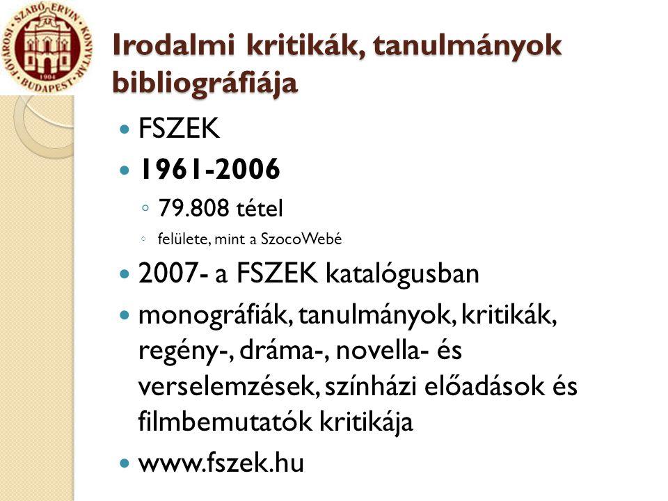 Irodalmi kritikák, tanulmányok bibliográfiája