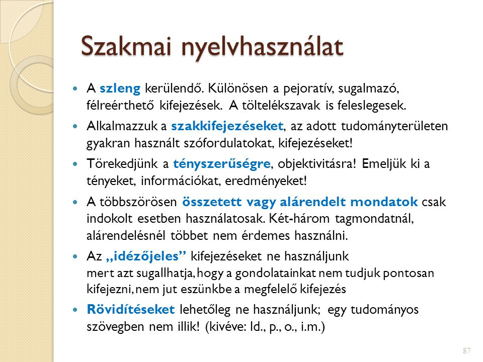 Szakmai nyelvhasználat