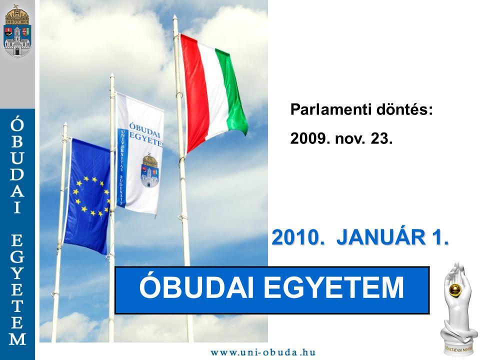 Parlamenti döntés: 2009. nov. 23. 2010. JANUÁR 1. ÓBUDAI EGYETEM