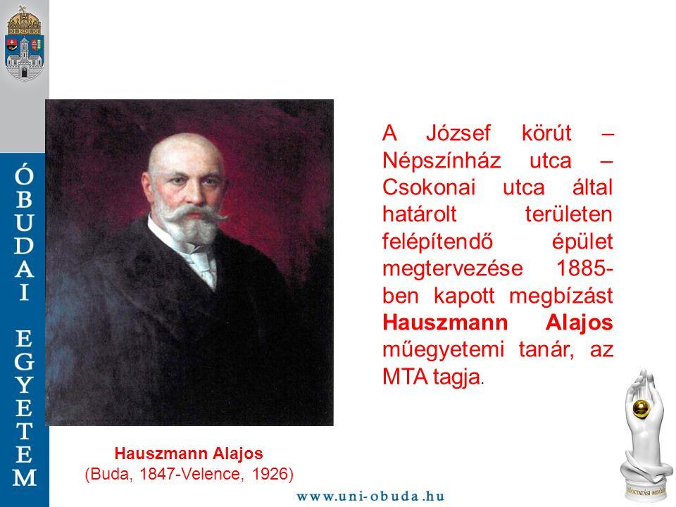 A József körút – Népszínház utca – Csokonai utca által határolt területen felépítendő épület megtervezése 1885-ben kapott megbízást Hauszmann Alajos műegyetemi tanár, az MTA tagja.