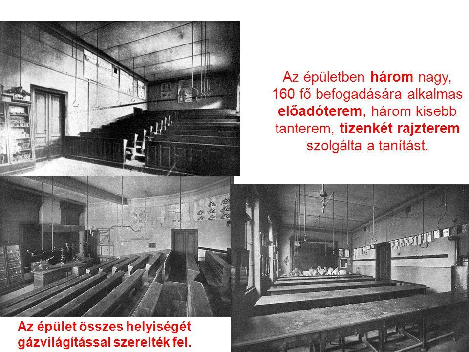 Az épületben három nagy, 160 fő befogadására alkalmas előadóterem, három kisebb tanterem, tizenkét rajzterem szolgálta a tanítást.