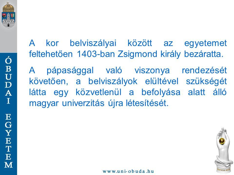A kor belviszályai között az egyetemet feltehetően 1403-ban Zsigmond király bezáratta.