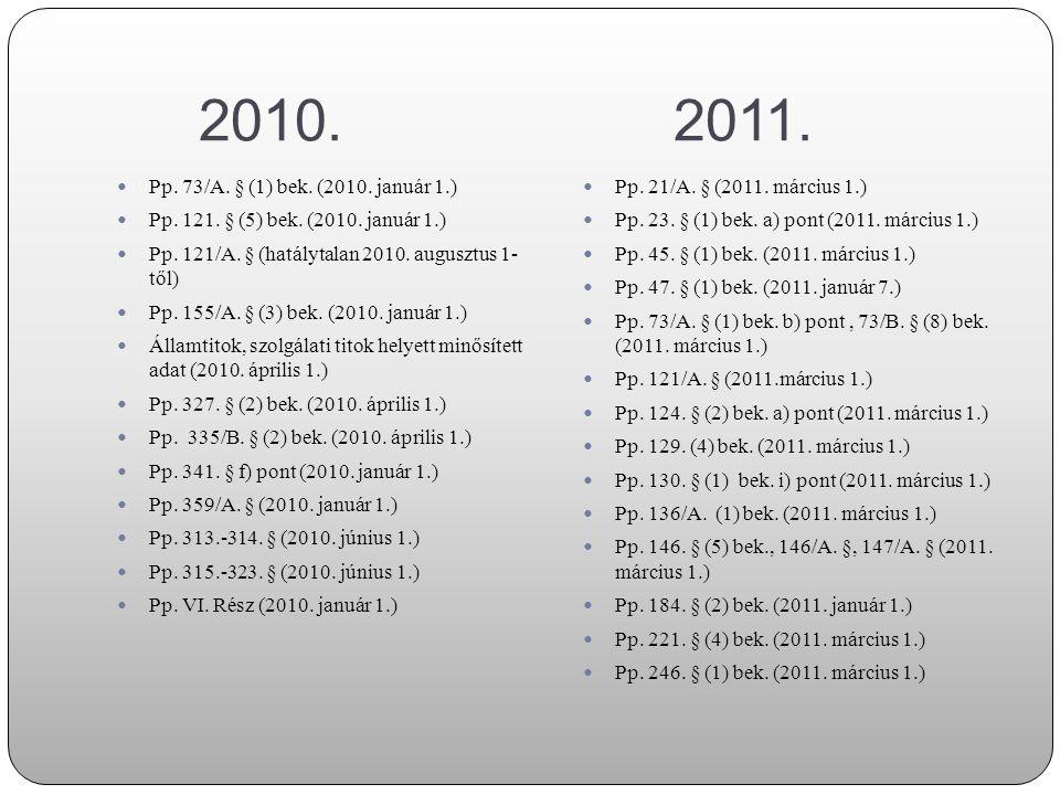 2010. 2011. Pp. 73/A. § (1) bek. (2010. január 1.) Pp. 121. § (5) bek. (2010. január 1.)