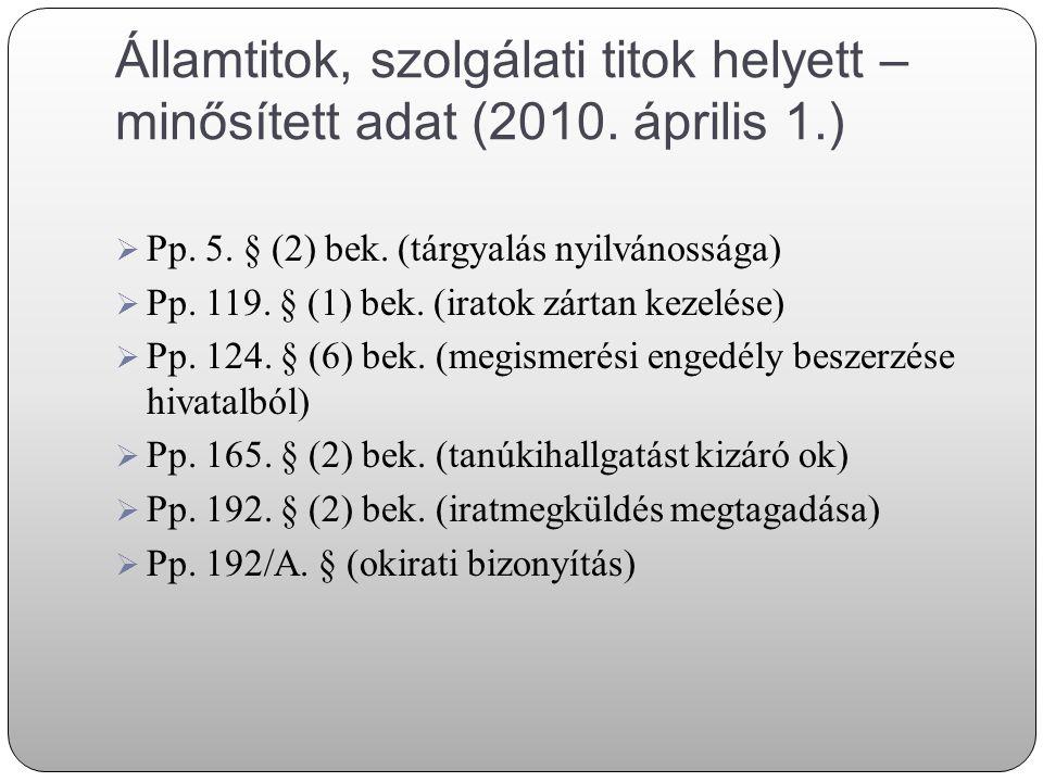Államtitok, szolgálati titok helyett – minősített adat (2010. április 1.)