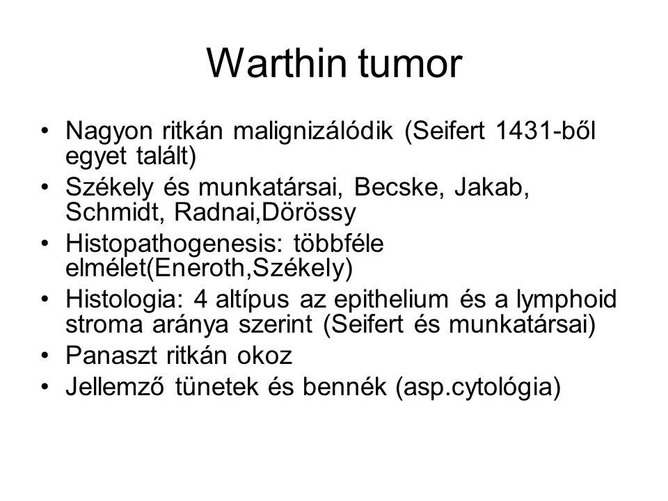 Warthin tumor Nagyon ritkán malignizálódik (Seifert 1431-ből egyet talált) Székely és munkatársai, Becske, Jakab, Schmidt, Radnai,Dörössy.