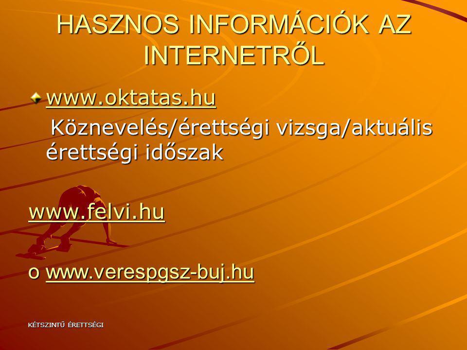 HASZNOS INFORMÁCIÓK AZ INTERNETRŐL