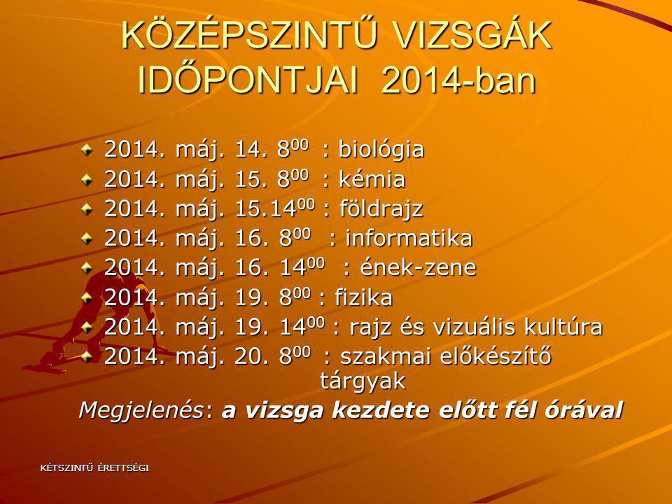 KÖZÉPSZINTŰ VIZSGÁK IDŐPONTJAI 2014-ban