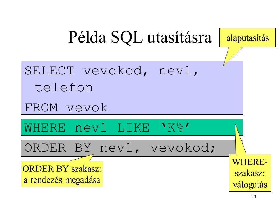Példa SQL utasításra SELECT vevokod, nev1, telefon FROM vevok
