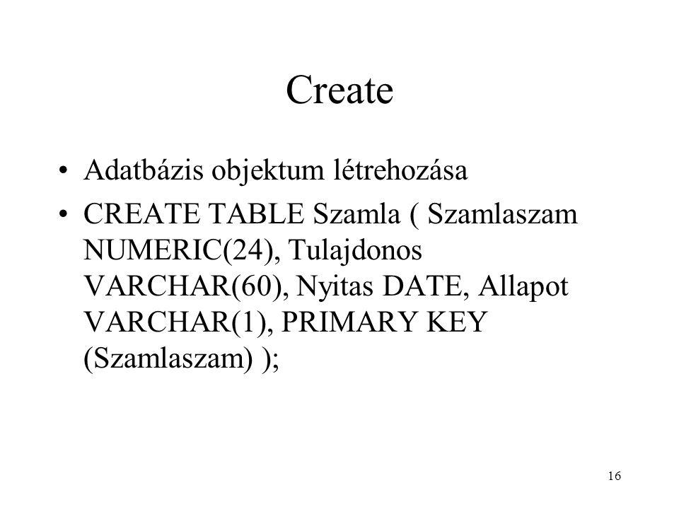Create Adatbázis objektum létrehozása