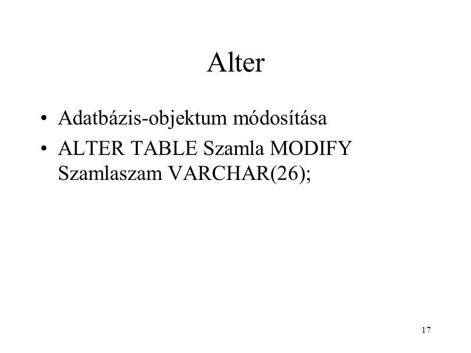 Alter Adatbázis-objektum módosítása