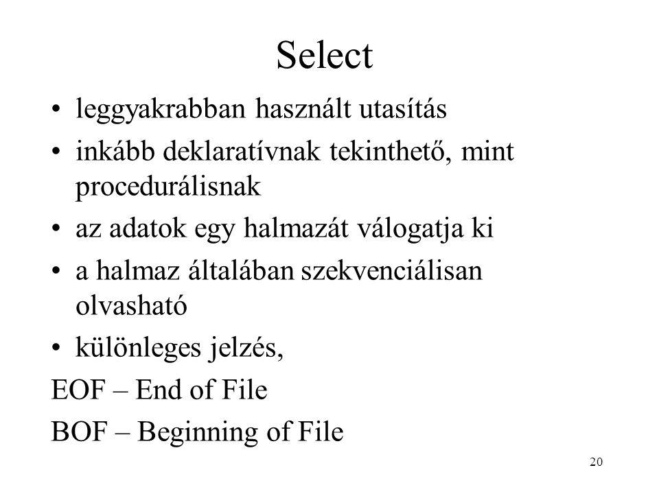 Select leggyakrabban használt utasítás