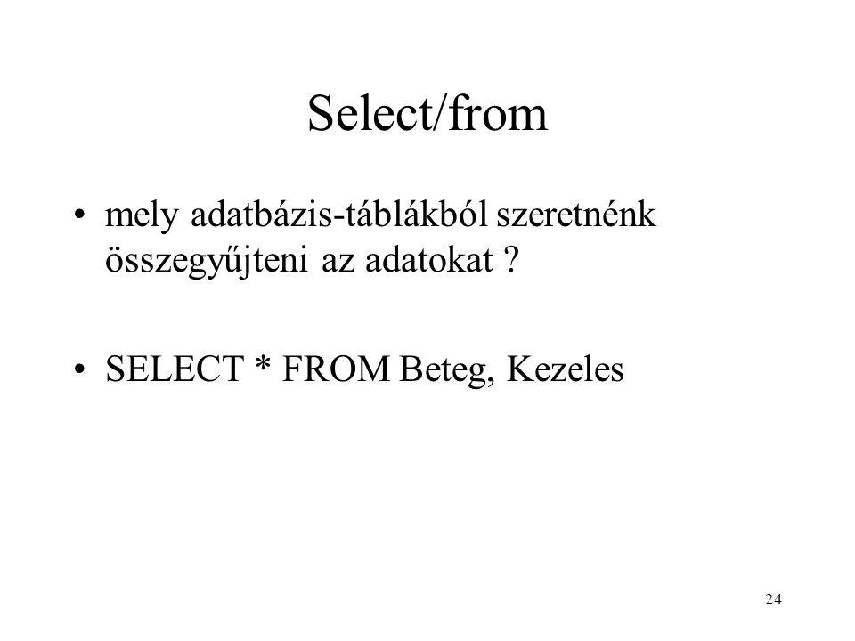 Select/from mely adatbázis-táblákból szeretnénk összegyűjteni az adatokat .