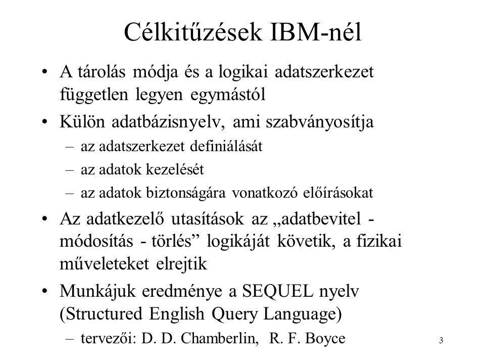 Célkitűzések IBM-nél A tárolás módja és a logikai adatszerkezet független legyen egymástól. Külön adatbázisnyelv, ami szabványosítja.