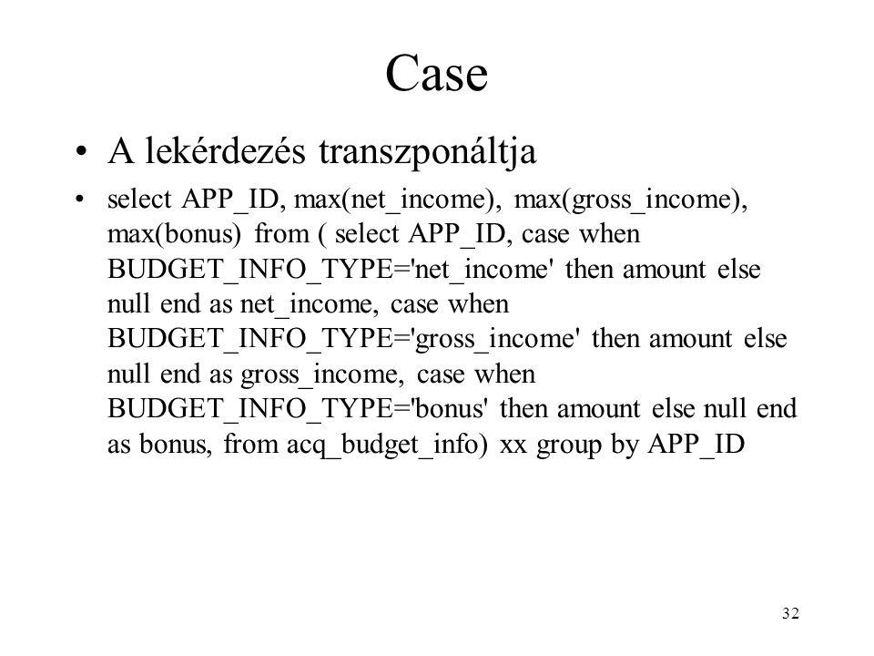 Case A lekérdezés transzponáltja