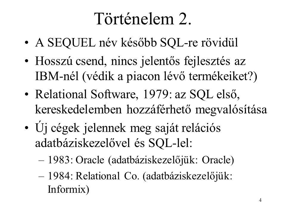 Történelem 2. A SEQUEL név később SQL-re rövidül