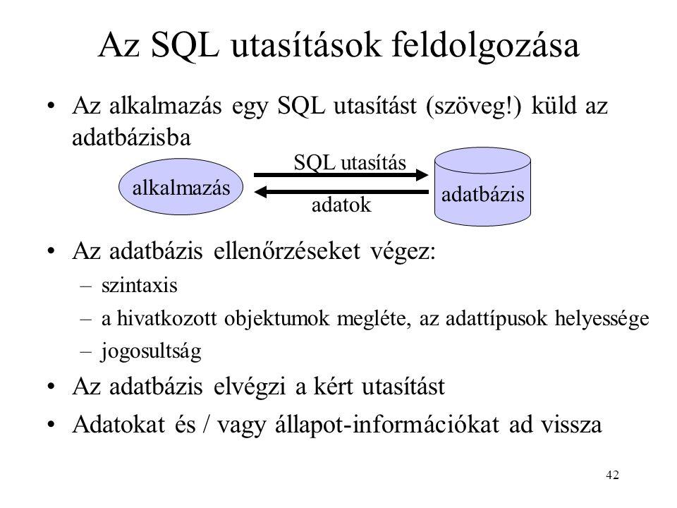 Az SQL utasítások feldolgozása