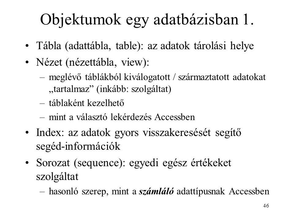 Objektumok egy adatbázisban 1.
