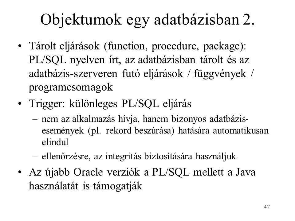 Objektumok egy adatbázisban 2.