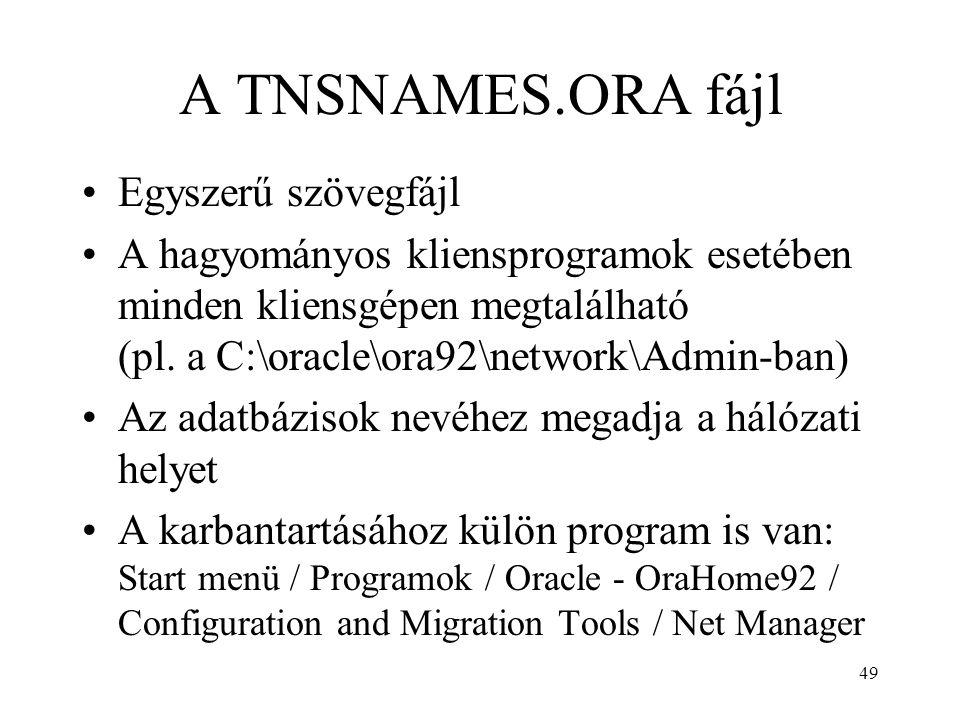 A TNSNAMES.ORA fájl Egyszerű szövegfájl