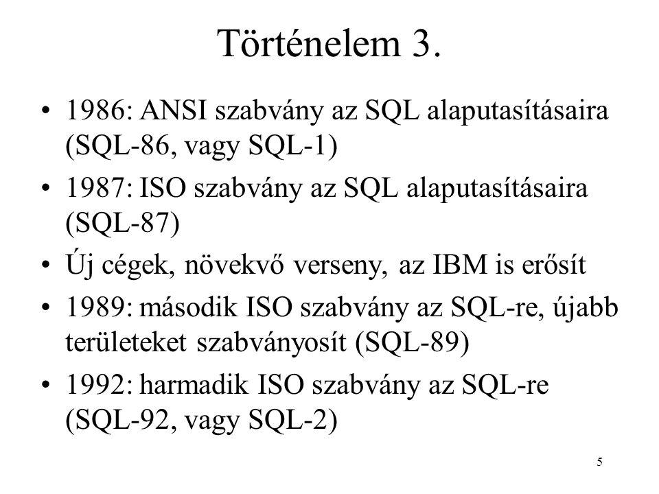 Történelem 3. 1986: ANSI szabvány az SQL alaputasításaira (SQL-86, vagy SQL-1) 1987: ISO szabvány az SQL alaputasításaira (SQL-87)