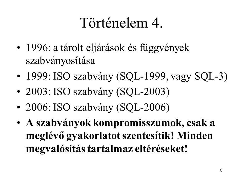 Történelem 4. 1996: a tárolt eljárások és függvények szabványosítása