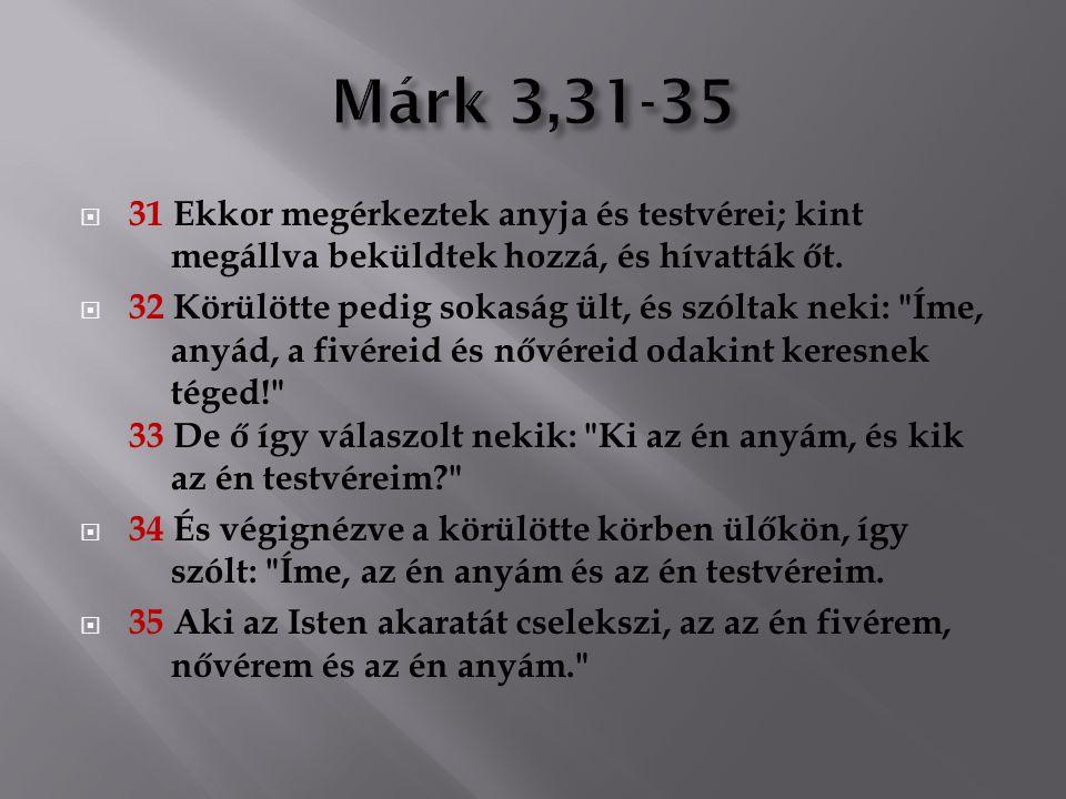Márk 3,31-35 31 Ekkor megérkeztek anyja és testvérei; kint megállva beküldtek hozzá, és hívatták őt.
