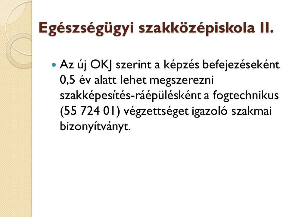Egészségügyi szakközépiskola II.