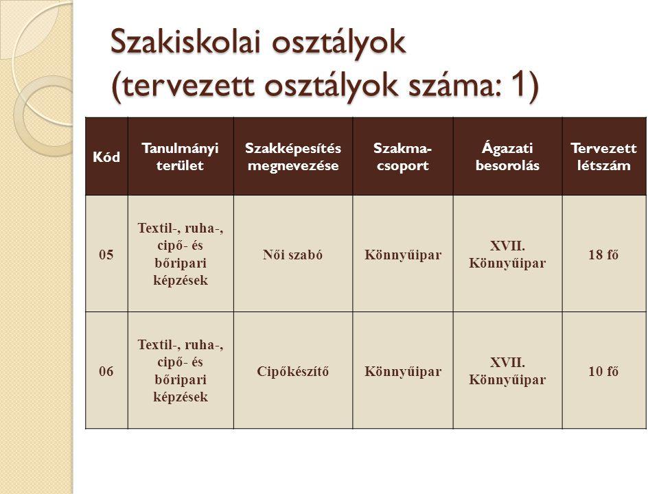 Szakiskolai osztályok (tervezett osztályok száma: 1)
