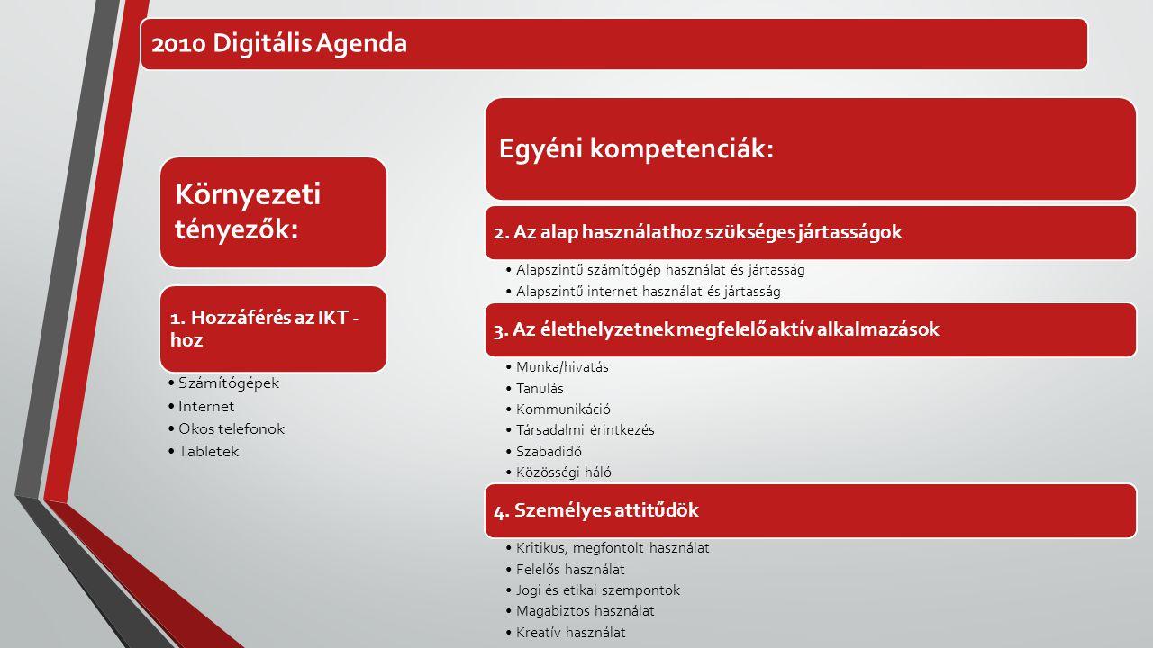 Környezeti tényezők: Egyéni kompetenciák: 2010 Digitális Agenda