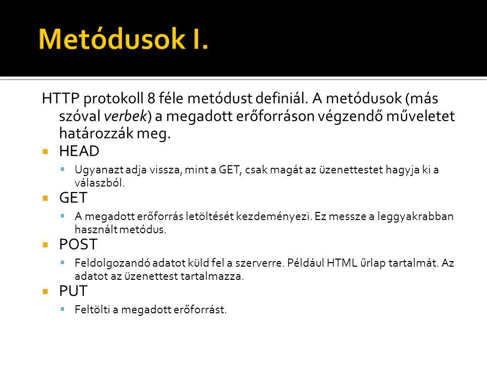 Metódusok I. HTTP protokoll 8 féle metódust definiál. A metódusok (más szóval verbek) a megadott erőforráson végzendő műveletet határozzák meg.