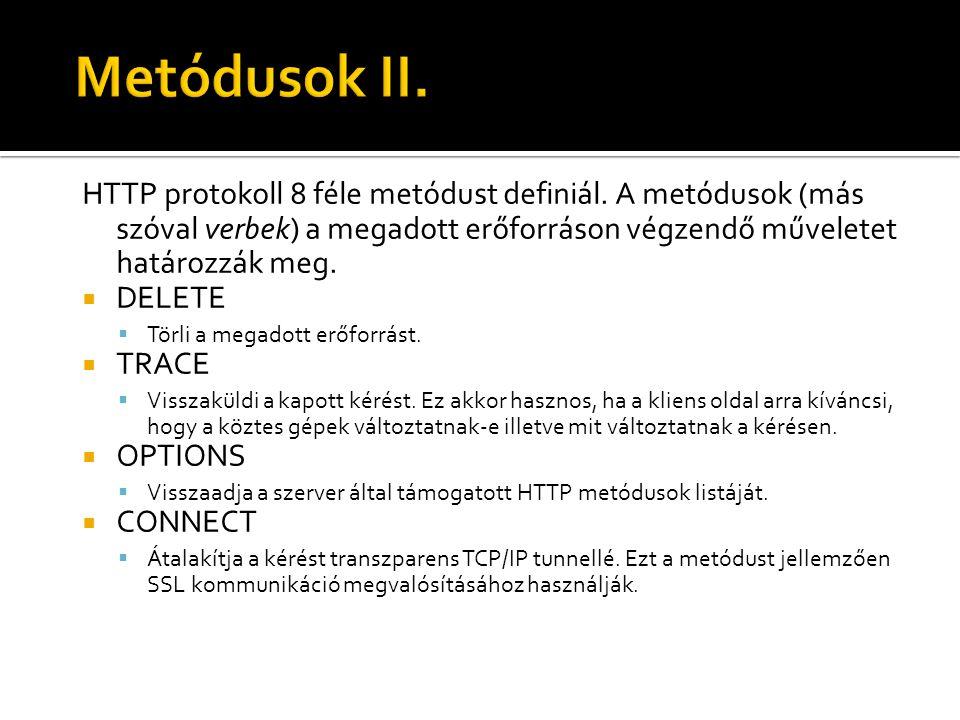 Metódusok II. HTTP protokoll 8 féle metódust definiál. A metódusok (más szóval verbek) a megadott erőforráson végzendő műveletet határozzák meg.