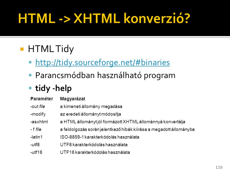 HTML -> XHTML konverzió